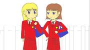 女学生二人(デジタル彩色)