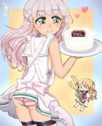 お誕生日ケーキをつくったマエちゃんとザラ妖精ちゃん