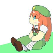 横を向いて座ってる美鈴