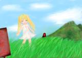 ニラ畑にたたずむ少女
