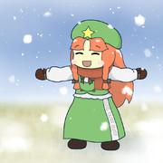 雪と長袖の美鈴