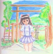 ウヨ子ちゃん 田舎の神社で・・
