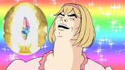虹色のガチャ画面にご満悦のジータちゃん