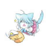 寝てるたぬき提督に飛びつく浜波猫