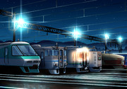 車両基地 夜