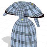 ギンガムチャックのワンピース+ケープ付き(配布衣装8)