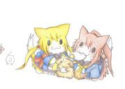 たぬき提督と皐月猫と文月猫