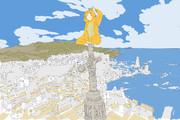 カラオケするつもりが間違ってアッカの街のビューポイントに登ってしまうゆもちょむさん.jpg