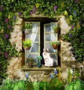 猫のいる窓