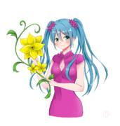初音ミクと黄色い花