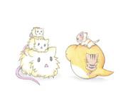 重なるネズミとツチノコ