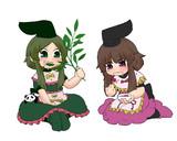 みょうがと笹を食べる里乃と舞