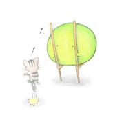 遊ぶひっつき虫ちゃんとカエルちゃん