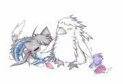 グー提督ペンギンと加古猫と酒匂猫