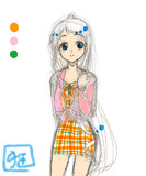 リプで来た3色を使って服を描いた