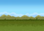 スクロール背景用ループ素材、空と雲と山とW