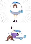 菫子ちゃんを吐くフグのイラスト