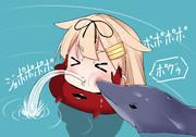 イルカにつつかれ水を吐く不遇な夕立