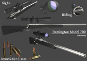 3Dモデル Remington Model700