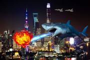上海 空飛ぶ巨大ザメ
