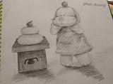 魁璃 犬 鏡餅