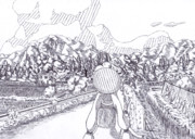 【ボールペン】ウナと田舎と入道雲