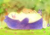 カビゴンのお腹ですやすや眠るピカチュウ