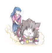 大和猫を散歩させる鳳翔さん