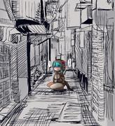 路地裏で何かしようとするツチノコちゃん