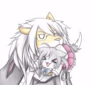 清霜猫をくわえる武蔵ライオン