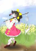 春を行く巫女