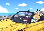 オープンカーでドライブしてるサーバルちゃんとかばんちゃんとボス