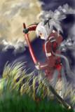 満月と草原と日本刀