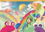カエルと傘と虹