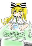 カフェで一休み中のアリスお姉さん