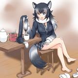 ニーソでコーヒーを濾すタイリクオオカミ先生