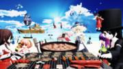 宴会は、南の島でBBQとラッコ鍋