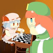 チェスで遊ぶレミリアお嬢様と美鈴