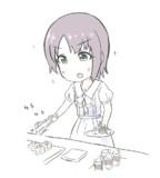 ケーキを威嚇する乙倉ちゃん
