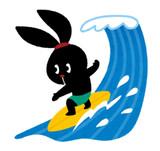サーフィンをするぴょこ(いらすとや)