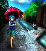 小傘ちゃん武家屋敷通りを歩く