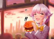 ギューとにはならなかった乗かるびバーガーを食べる幸子はん