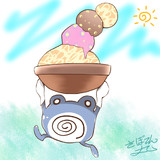 アイスクリームを積み上げたニョロゾ