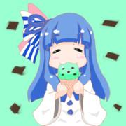アイスを食べる葵ちゃん