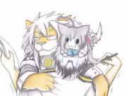 グー提督に抱きつく武蔵ライオン