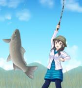 大きなフナを釣った肇ちゃん