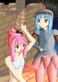 葵ちゃんの盾を打ち直す茜ちゃん
