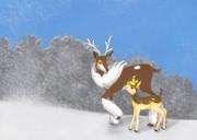 雪原の親子