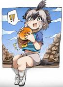 ハンバーガーを食べるロードランナーちゃん(色つき)