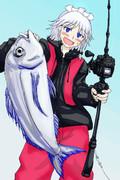 久々に大物を釣り上げて嬉しがる釣りキチ姉貴
